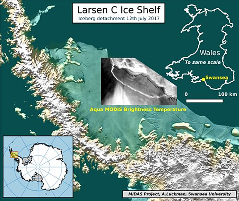 Delaware-sized iceberg breaks free from Antarctic ice shelf