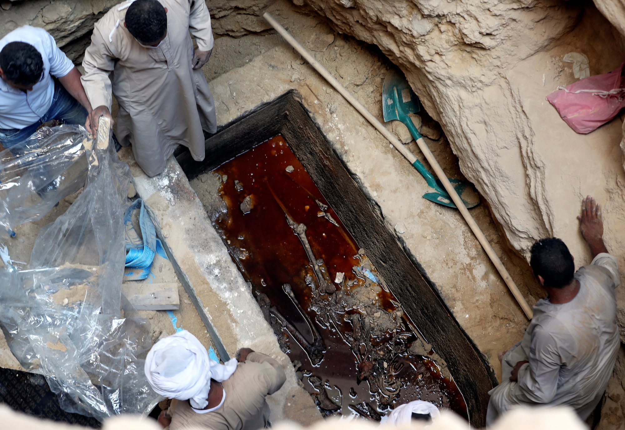 Huge Egyptian sarcophagus found to contain three mummies