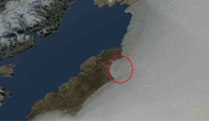 Crater bigger than Paris is discovered under Greenland ice