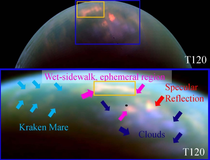NASA's Cassini spacecraft spotted fresh rainfall on Saturn's moon Titan