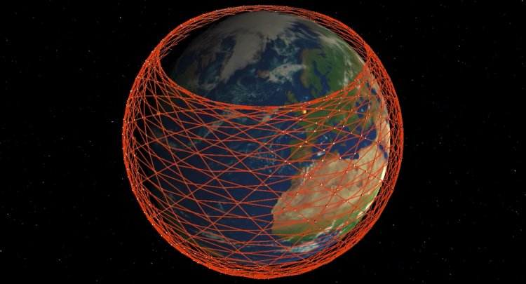 An illustration of SpaceX's constellation of Starlink satellites