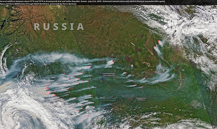 Arctic Wildfires so Large, They Can Be Seen from Space