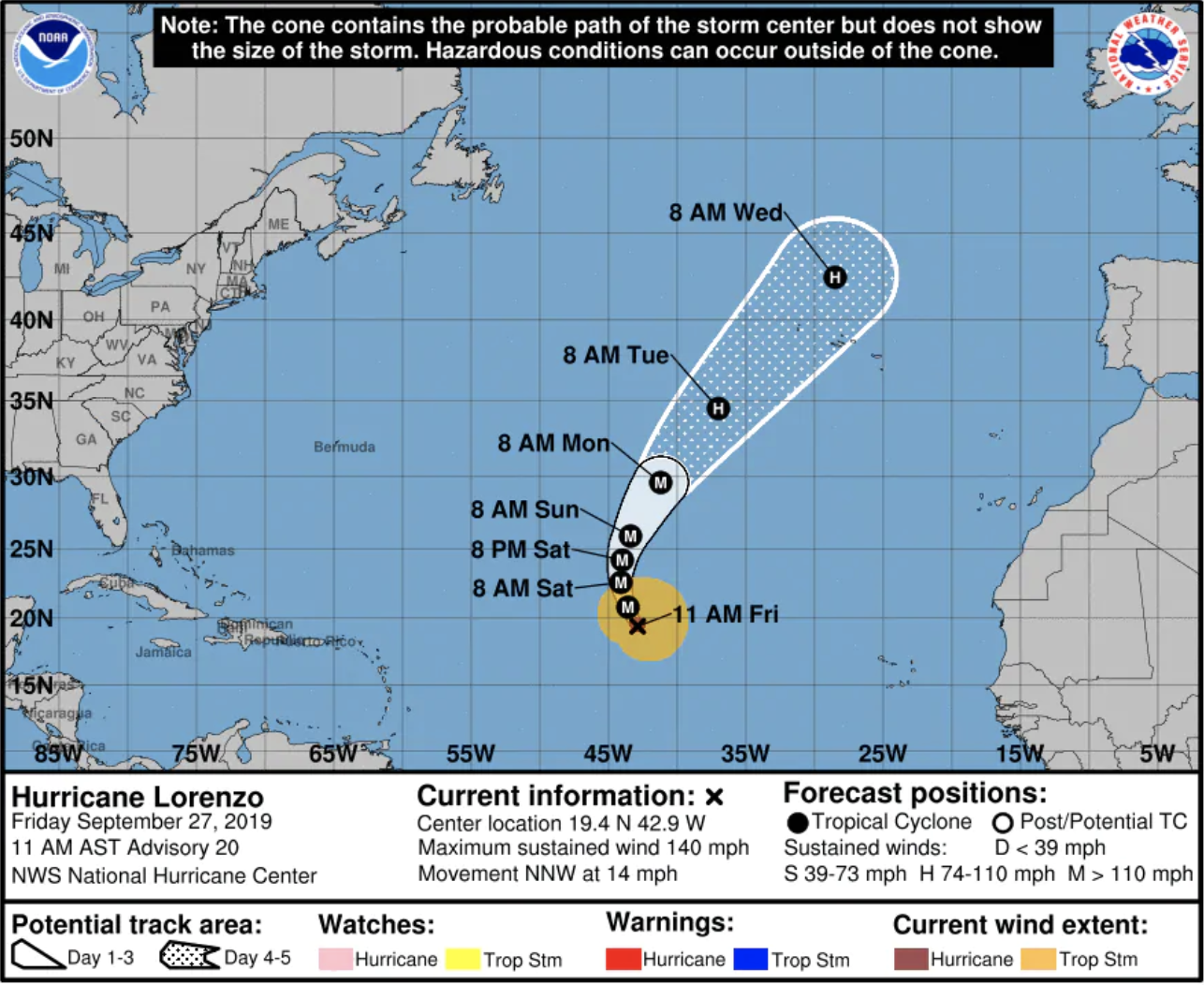 We're now directly in path of Hurricane Lorenzo according to forecasts