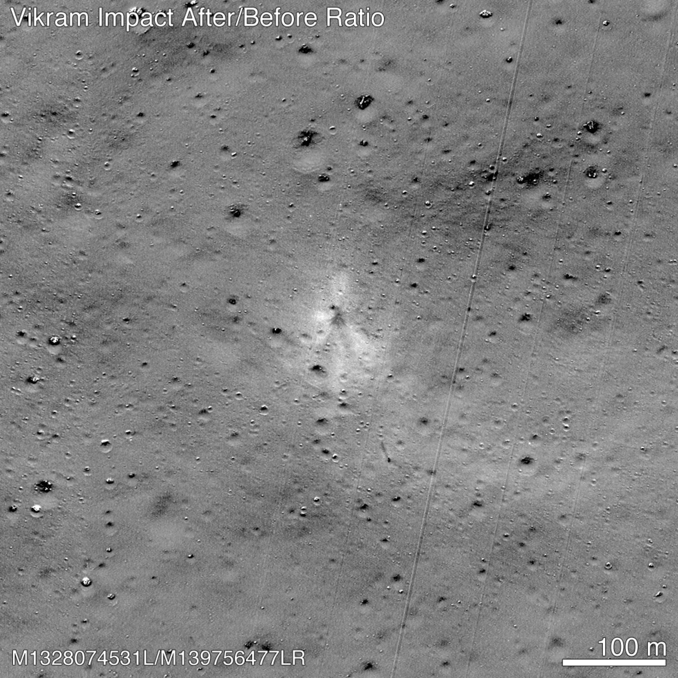 NASA satellite spots wrecked Indian lander on surface of the moon