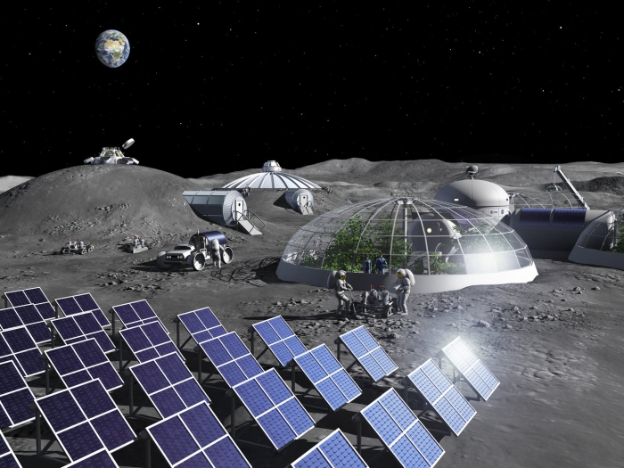 Artist's illustration of a Moon base