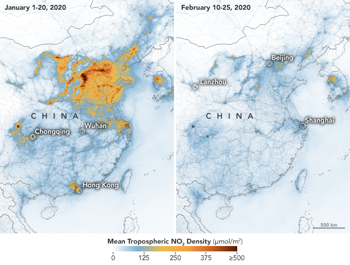 Satellite images show China's 'dramatic' air pollution drop-off after coronavirus shutdown