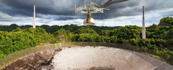 The iconic Arecibo telescope in Puerto Rico is being battered by Hurricane Maria